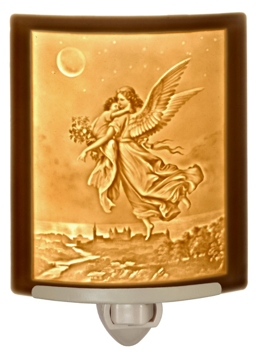 Guardian Angel Lithophane Curved Porcelain Night Light