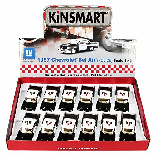 Kinsmart Box of 12 Diecast Model Toy Cars - 1957 Chevy Bel Air Police Car, 1/40 Scale