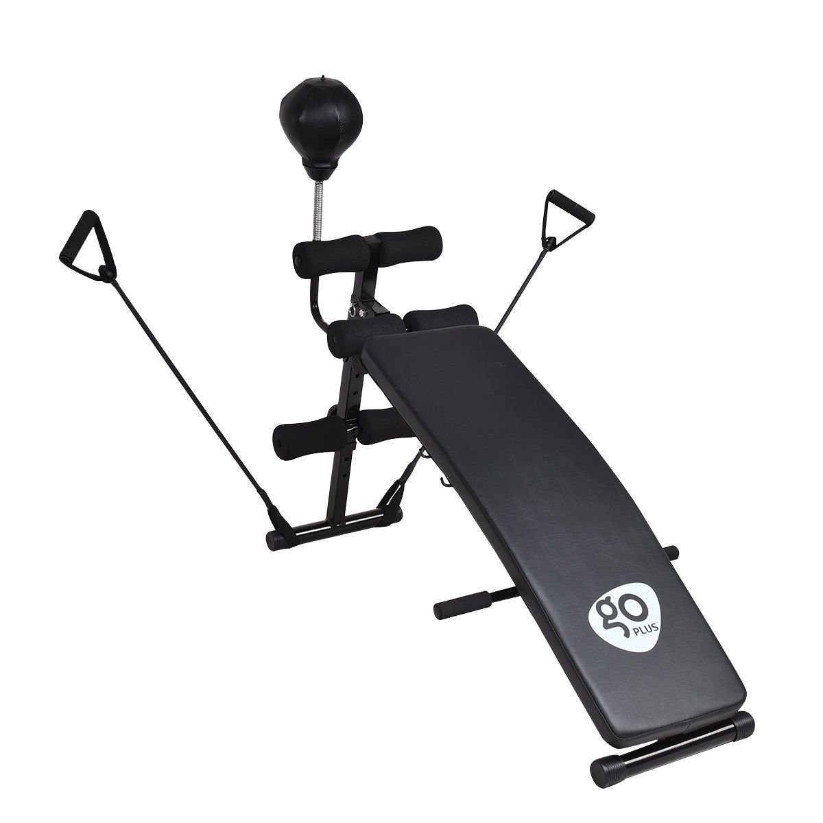 GOPLUS Adjustable Decline Bench Curved Sit Up Board Workout Slant Bench w/Speed Ball and Pull Ropes