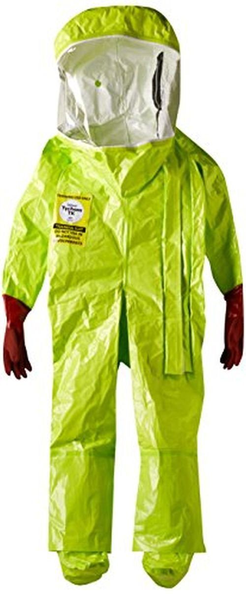 Dupont TK586TLYXL000100 EncapTrainSuit, Expanded Back, Front Entry, Taped Seams, X-Large, Lime Yellow by DuPont (Image #1)