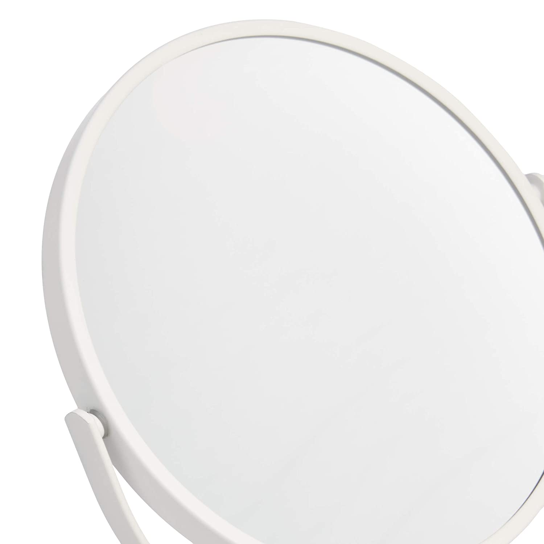 AmazonBasics Vanity Mirror with Heavy Base – 1X 5X Magnification, White