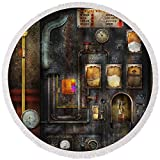 Pixels Round Beach Towel With Tassels featuring ''Steampunk - All That For A Cup Of Coffee'' by Mike Savad