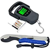 Fishfun Fish Scale, 110lb/50kg with Large Lip Gripper, Digital Hanging Hook Scale with Tape Measure, Solid Accurate Electronic Fishing Scale, 3 AAA Batteries Included