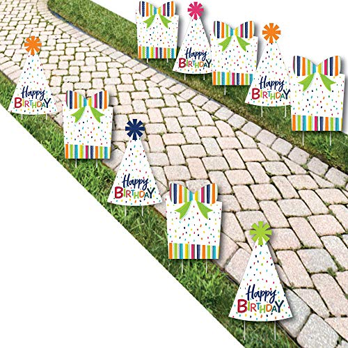 Cheerful Happy Birthday - Party Hat and Presents Lawn Decorations - Outdoor Colorful Birthday Party Yard Decorations - 10 Piece