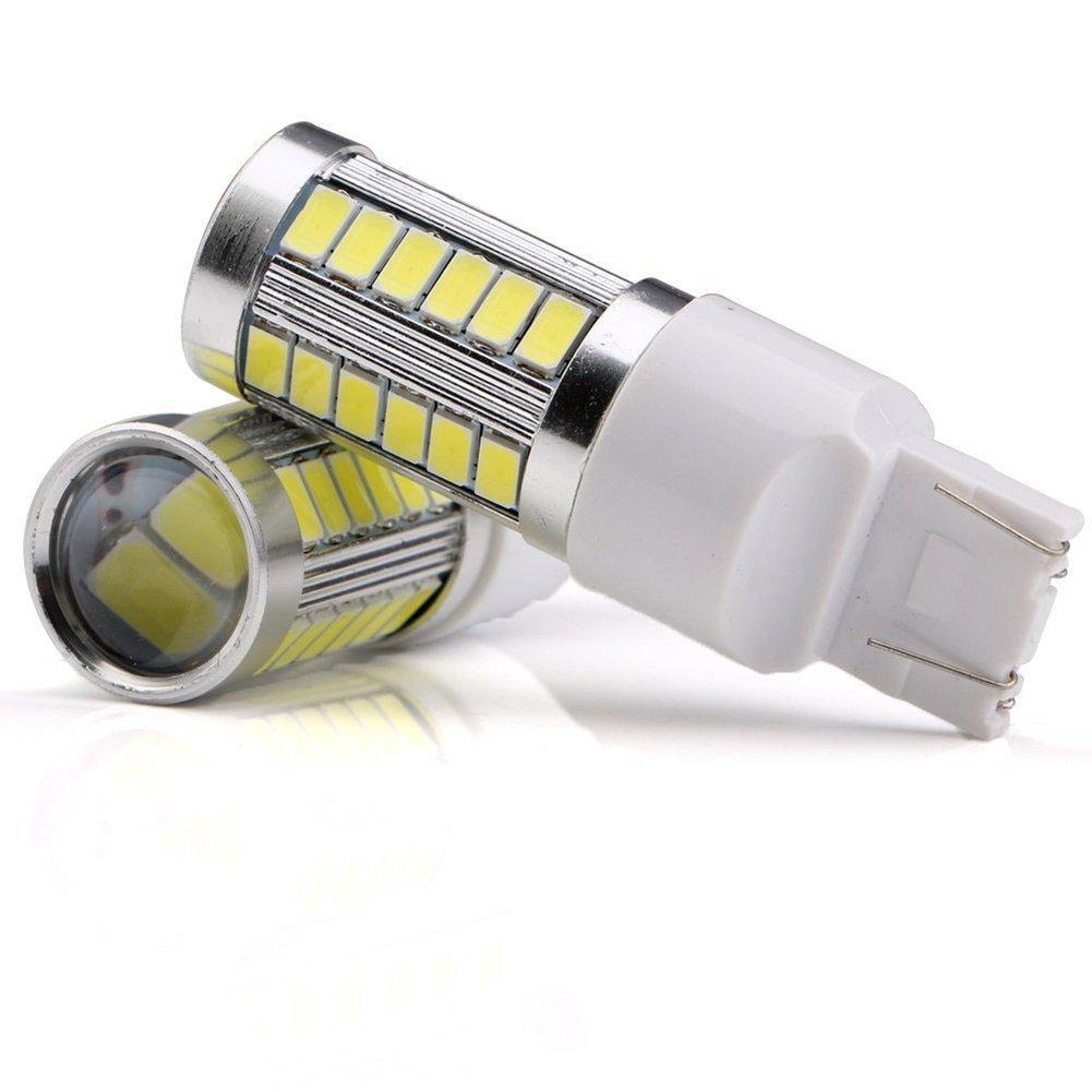 KaTur 4pcs 7443 Signal Light Lamp Bulb 7444NA 5630 33-SMD White 900 Lumens 6500K Super Bright LED Turn Tail Brake Stop 12V 3.6W