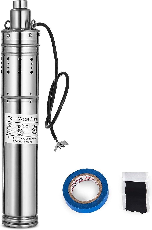 Anhon Bomba de agua solar alimentada 684W Bomba sumergible para pozo profundo Bomba sumergible 24V / 36V DC Bomba de agua solar de acero inoxidable 3m3 / h 80M para fuentes (S243T-80)