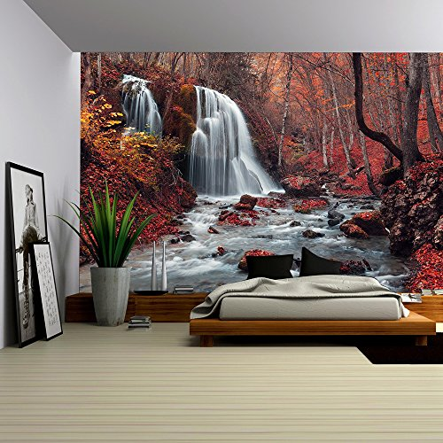 wall26 - Beautiful waterfall in autumn forest. Silver Stream Waterfall. Autumn forest in Crimea - Removable Wall Mural | Self-adhesive Large Wallpaper - 100x144 inches