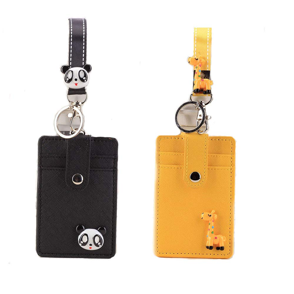 2 Packs ID Cards Badge Holder with Lanyard, Cute Leather Credit Card Holder with 2-Sided 3 Slot and Key Ring for Women Girls (Panda & Giraffe)