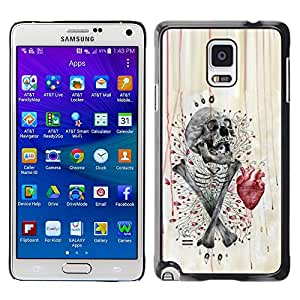 Shell-Star Arte & diseño plástico duro Fundas Cover Cubre Hard Case Cover para Samsung Galaxy Note 4 IV / SM-N910F / SM-N910K / SM-N910C / SM-N910W8 / SM-N910U / SM-N910G ( Skull Heart Anatomy Crossbones )
