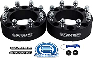 """Supreme Suspensions - 2pc 2"""" Wheel Spacers for 2010-2014 Dodge Ram 3500 2WD 4WD 8x6.5"""" (8x165.1mm) BP with M14x1.5 Studs & 130mm Center Bore [Black]"""