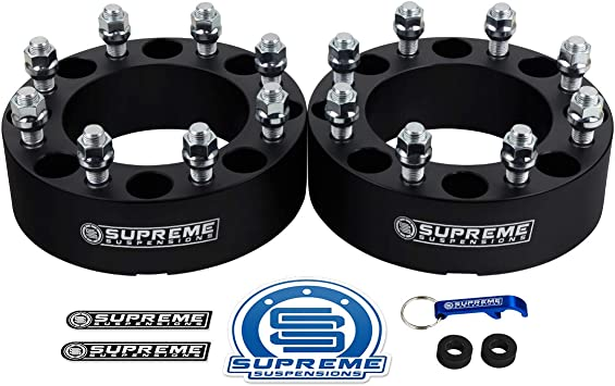 Supreme Suspensions w// 9//16x18 Studs Silver 8x165.1mm 2pc Wheel Spacers for 1994-2009 Dodge Ram 2500 1.5 Wheel Spacers 8x6.5