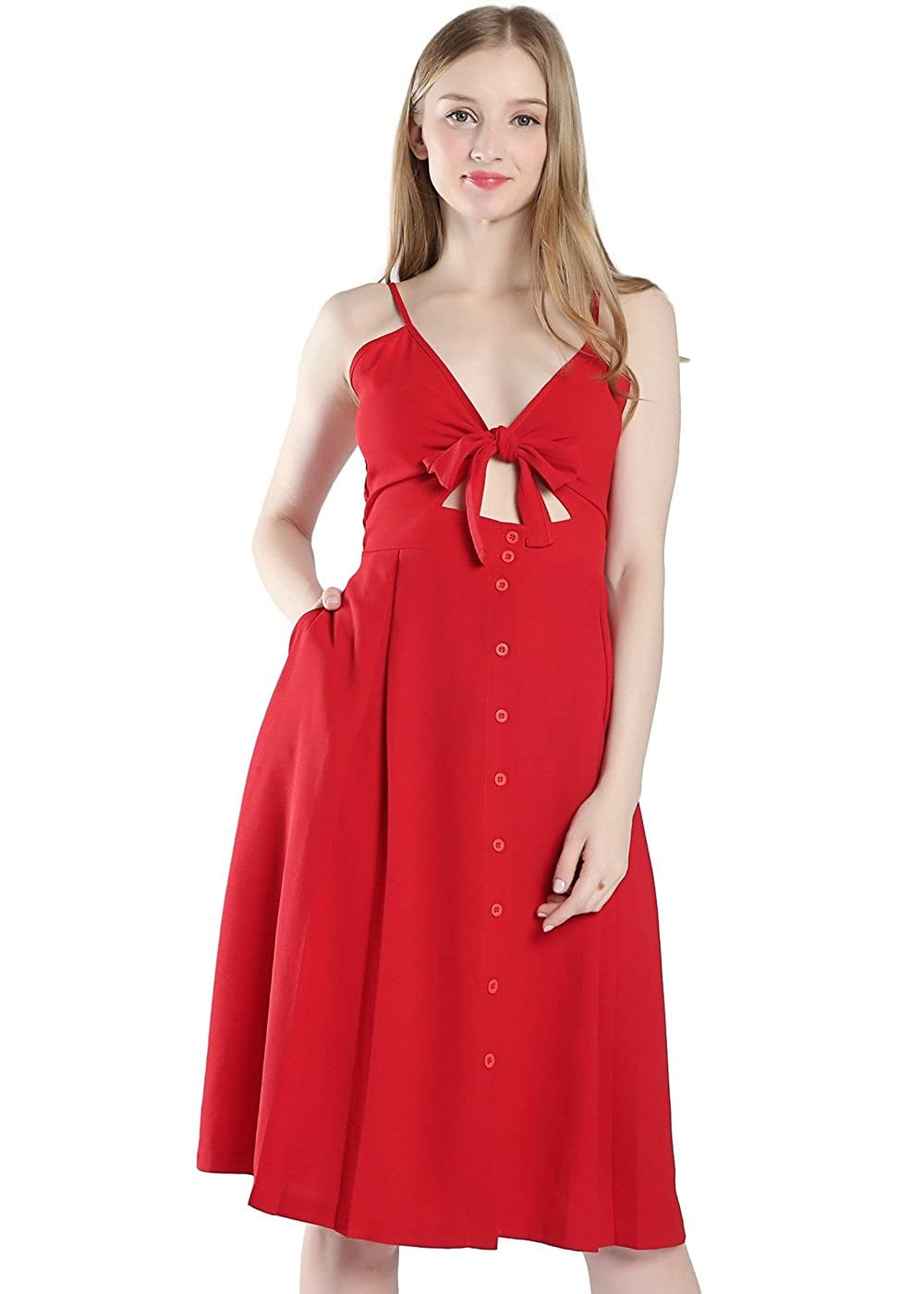 Red Laxllent Dress for Woman Tie Front VNeck ALine Swing Plus Size Womens Casual Summer Dresses