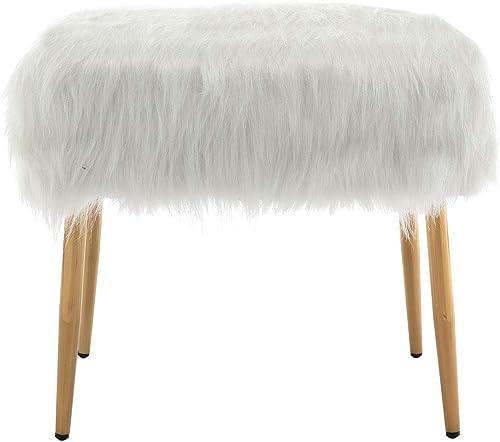 ZHENGHAO Fluffy Faux Fur Small Ottoman Vanity Stool