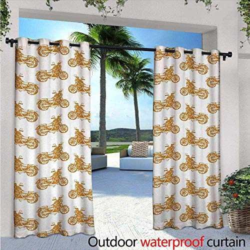Motorcycle Outdoor Blackout Curtains W72 x L96 Sketch Art Style Choppers Old School Vehicle with Rusty Gears and Engine Outdoor Privacy Porch Curtains Pale Brown ()