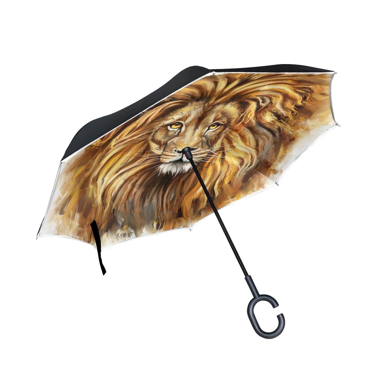 TIZORAX type Lion inversé double couche droites parapluies sur l'envers réversible Parapluie avec poignée en forme de C pour la pluie Soleil de voiture Utilisation