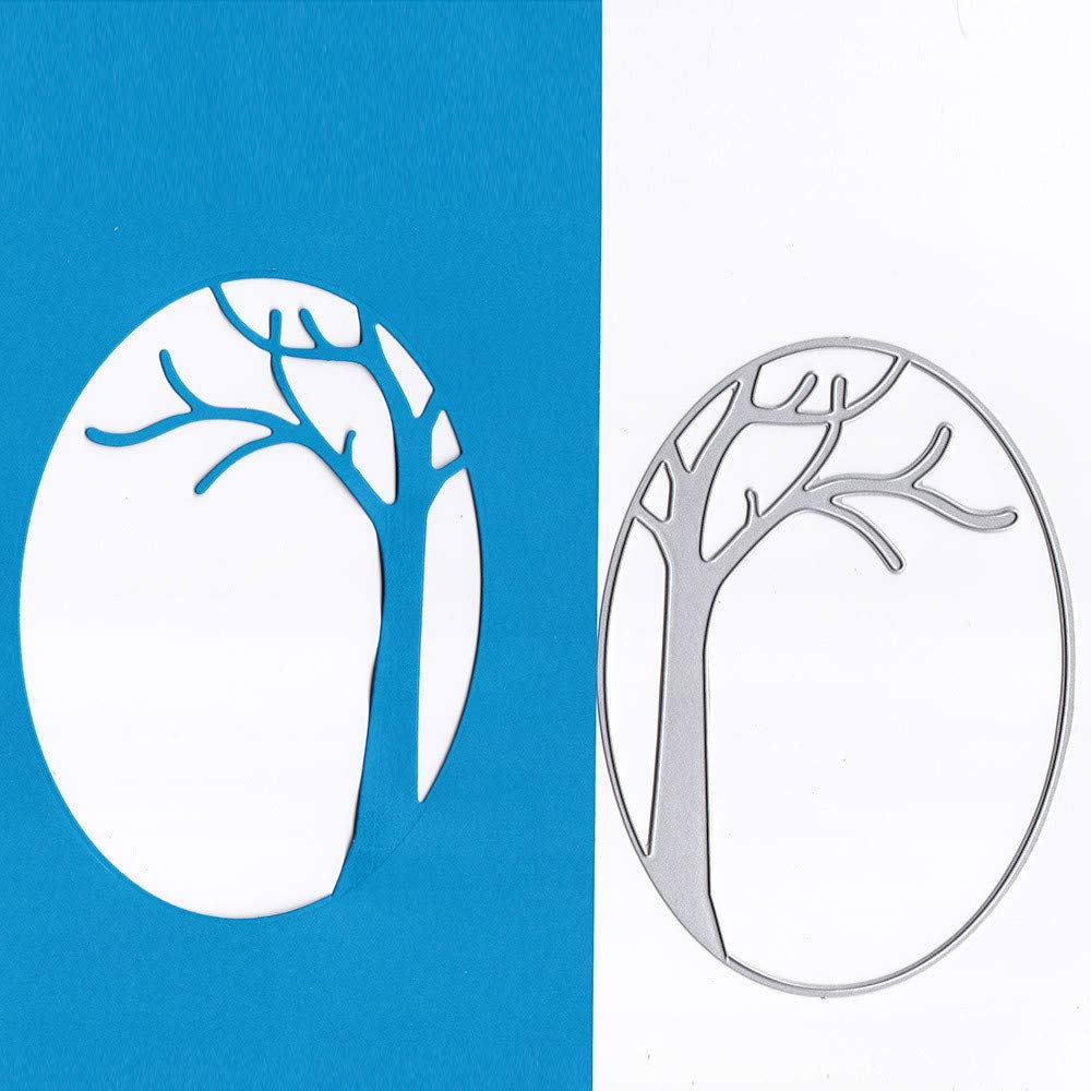 Cutting Dies Christmas,Oval Tree Branch Metal Cutting Dies Card Making Scrapbooking Stencils Album Paper Card Craft Embossing DIY Decorative Background Goodtrade8®
