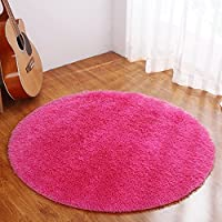 Dotesy Soft Furry Round Area Rugs for Baby Living Room Bedroom Home Shag Carpet 4-Feet,Rose Red