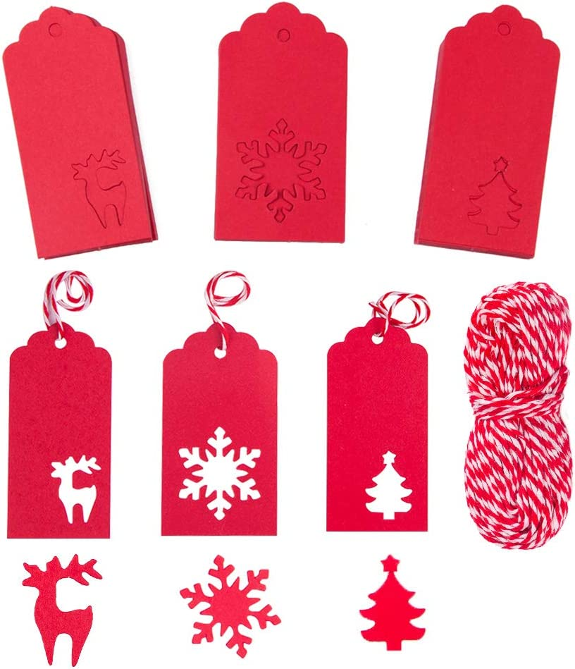 NABLUE Gift Tags100 Pieces Paper Tags Kraft Christmas Tags Hang Labels Christmas Tree Snowflake Reindeer Design for Christmas Gift Favor,DIY Arts and Crafts Wedding Supply with 30 Meters Natural Twine