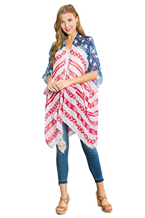 8f8e8dcd51d American Flag Patriotic Shawl Wrap Cardi - July 4 USA Stars Stripes Open Kimono  Cardigan,