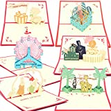 Happy Birthday Greeting Gifts Cards for Kids Children Boys 6-Pack (Animals Pop Up)