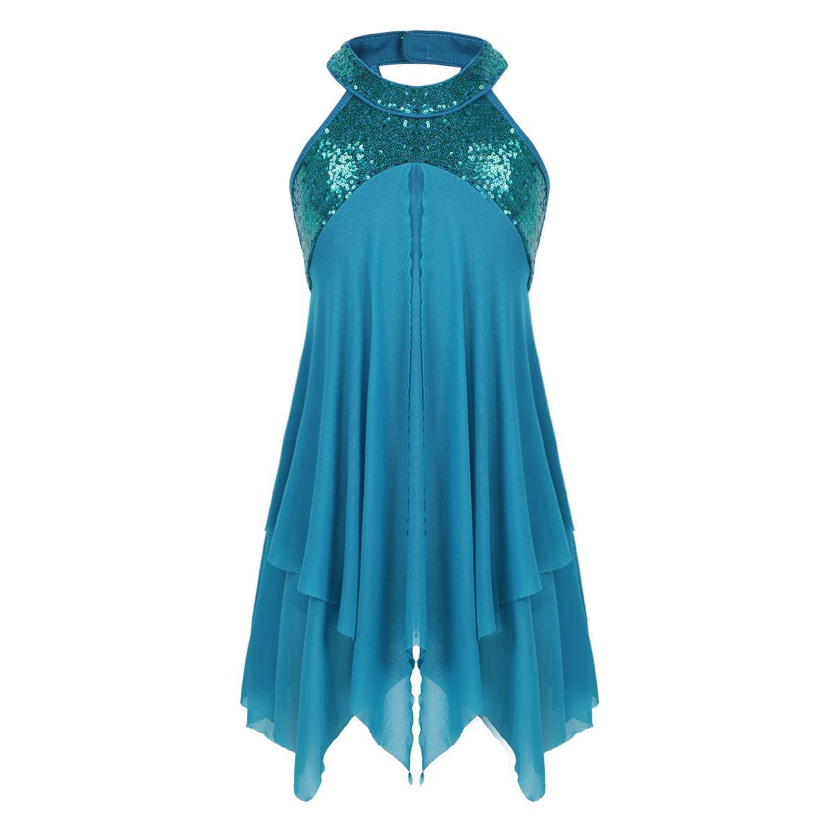 iixpin Mädchen Ballett Kleider Sling Tanzkleid mit Unregelmäßiger Rock Gymnastik Sport Training Trikot Kleid Gr.98-164