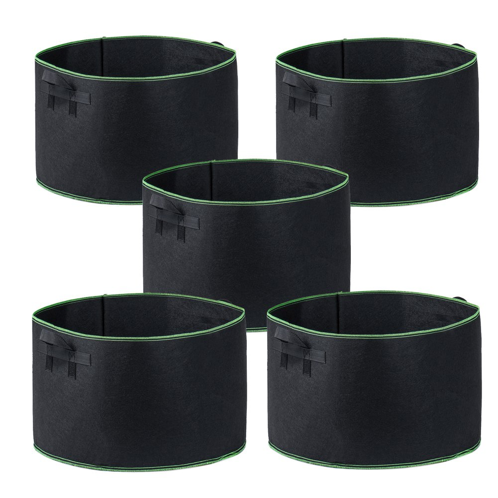 Garden4Ever Grow Bags 5-Pack 30 Gallon Aeration Fabric Pots Container with Handles (30-Gallons)