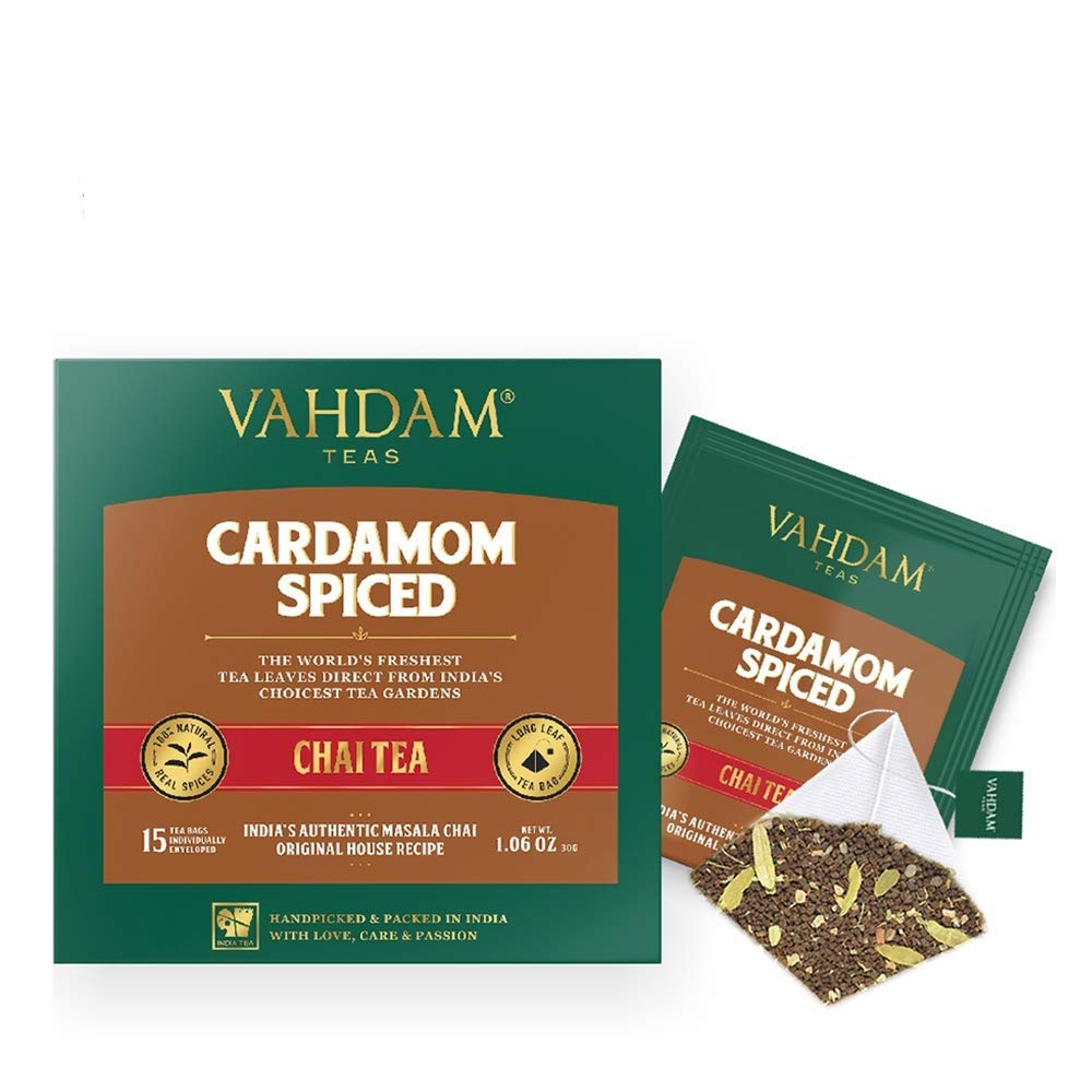 Cardamom Chai Tea - 100 Pyramid Tea Bags - 100% NATURAL CRUSHED CARDAMOM blended with Garden Fresh BLACK TEA, India's Original Cardamom Tea Blend, Packed at Source.