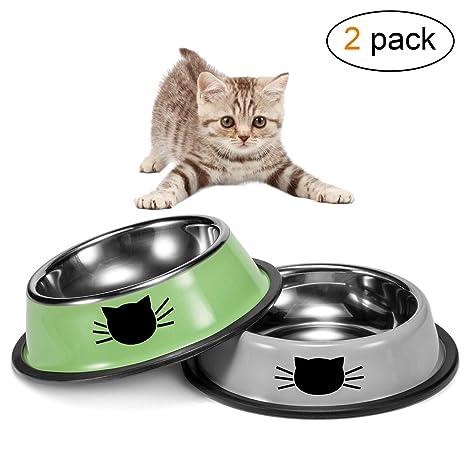 Zubita Comederos para Gatos, Cuencos Antideslizantes-Plato Gatos de Acero Inoxidable para Mascotas,