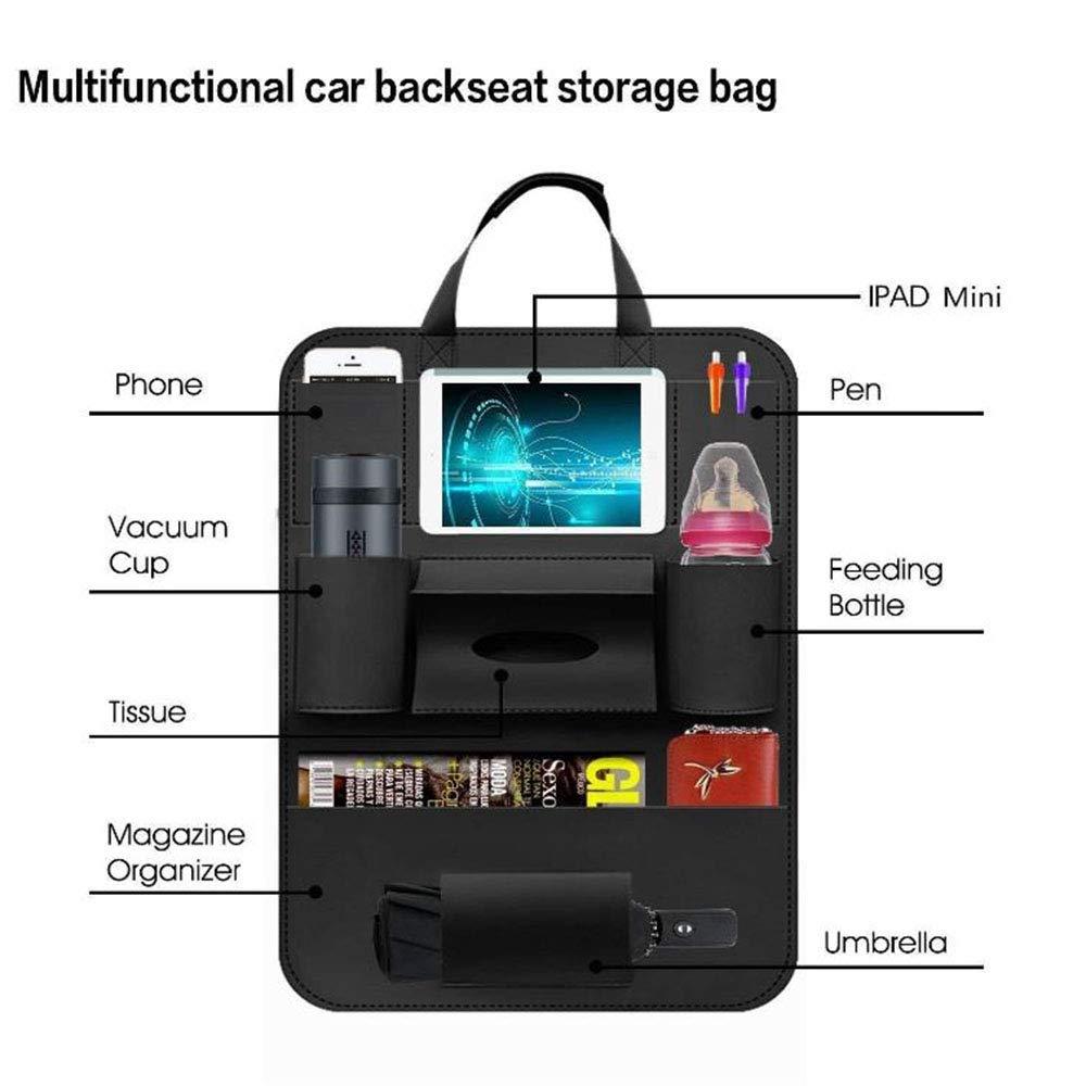 JUNSHUO PU Leather Car Backseat Organizer Adjustable Car Seat Back Storage Pocket with 7 Pockets ,Use as Car Backseat Organizer for Kids Car Organizer Tissue Box Toys Storage Bottles black