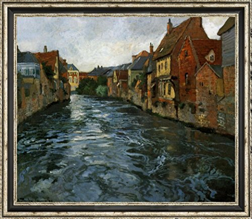 "Bord de Riviere, Vue d'Abbeville by Fritz Thaulow - 21"" x 26"" Framed Canvas Art Print - Ready to Hang"