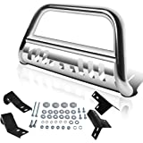 """AUTOSAVER88 Bull Bar Compatible for 05-15 Toyota Tacoma 3"""" Tube Brush Push Grille Guard Front Bumper (Silver)"""