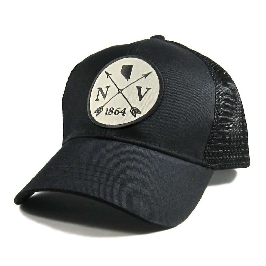 Homeland Tees Mens Nevada Arrow Patch All Black Trucker Hat