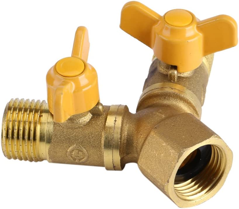 V/álvula desviadora del brazo de ducha de acero inoxidable G1 2 Lat/ón Irrigaci/ón de jard/ín Adaptador de manguera de doble grifo de 2 v/ías Conector de doble grifo Divisor del grifo