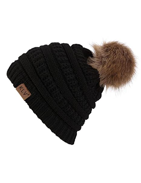 8b358a902c386 Hufcor Womens Winter Slouchy Knit Beanie Chunky Faux Fur Pom Poms Hat  Bobble Hat Ski Cap