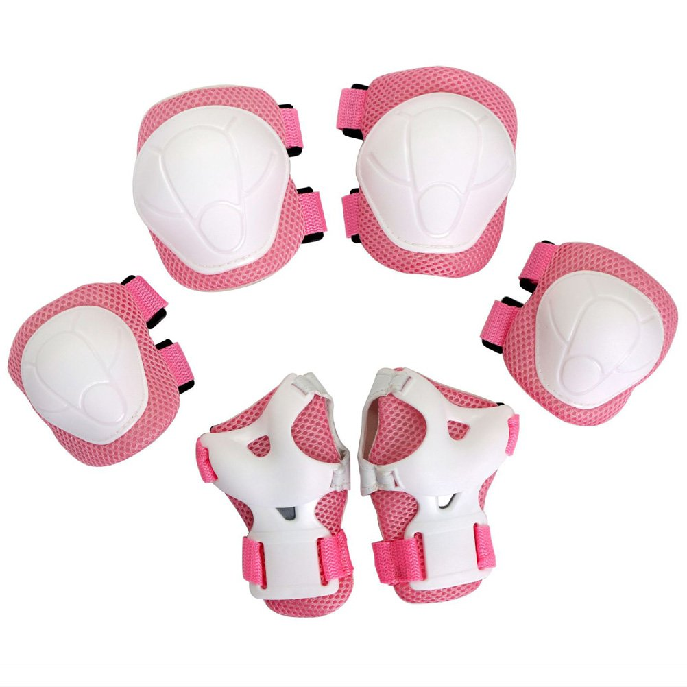Popo Rabbit Multi-Sport Kids Knee Elbow Wrist Protective Pads for Bike Cycling Skateboarding Skating Rollerblading and Other Extreme Sports Activities Toddler Kids Child age 3-5 5-8 (Pink)