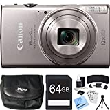 Canon PowerShot ELPH 360 HS Silver Digital Camera 64GB Card Bundle includes Camera, 64GB Memory Card, Reader, Wallet, Case, Battery, Mini Tripod, Screen Protectors, Cleaning Kit and Beach Camera Cloth