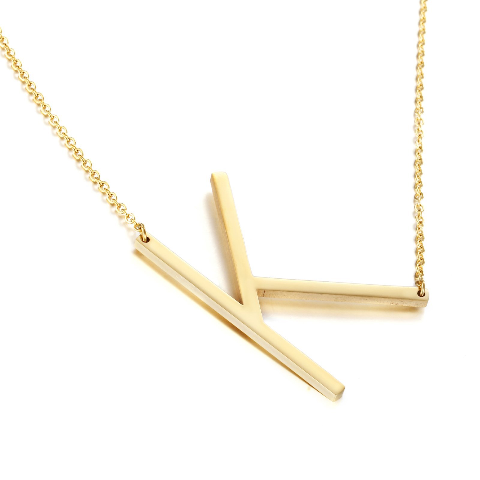 Awegift Minimalist Jewelry for Women Initial Big Letter Pendant Necklace Birthday Gifts for Her Gold K
