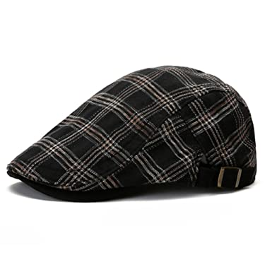 94c1558b7b372 Men Casual Berets Hats Adjustable Newsboy Caps Comfortable Plaid Ivy Flat  Caps (Black)  Amazon.co.uk  Clothing