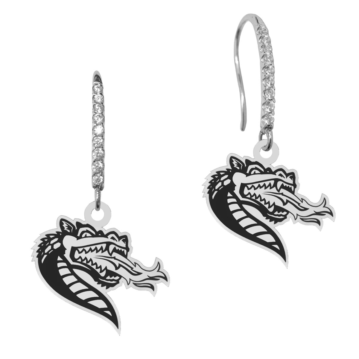 Alabama Birmingham Blazers Sterling Silver and Cz Logo Drop Earrings with Antique Background