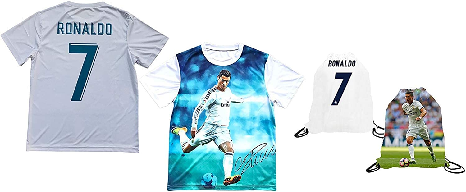 Sport Fans Edge Cristiano Ronaldo Jersey Style Picture T-Shirt Kids Gift Set Youth Sizes Soccer Backpack Gift Packaging
