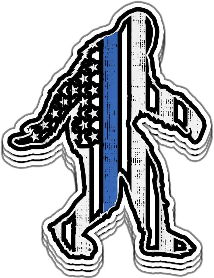 armyco Thin Blue Line Bigfoot Law Enforcement LE Cop US Flag Police - 6x6 Vinyl Stickers, Laptop Decal, Water Bottle Sticker (Set of 3)
