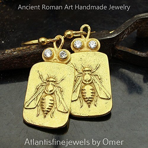 Bee Coin Earrings 925 k Sterling Silver Roman Art Turkish Fine Jewelry By Omer