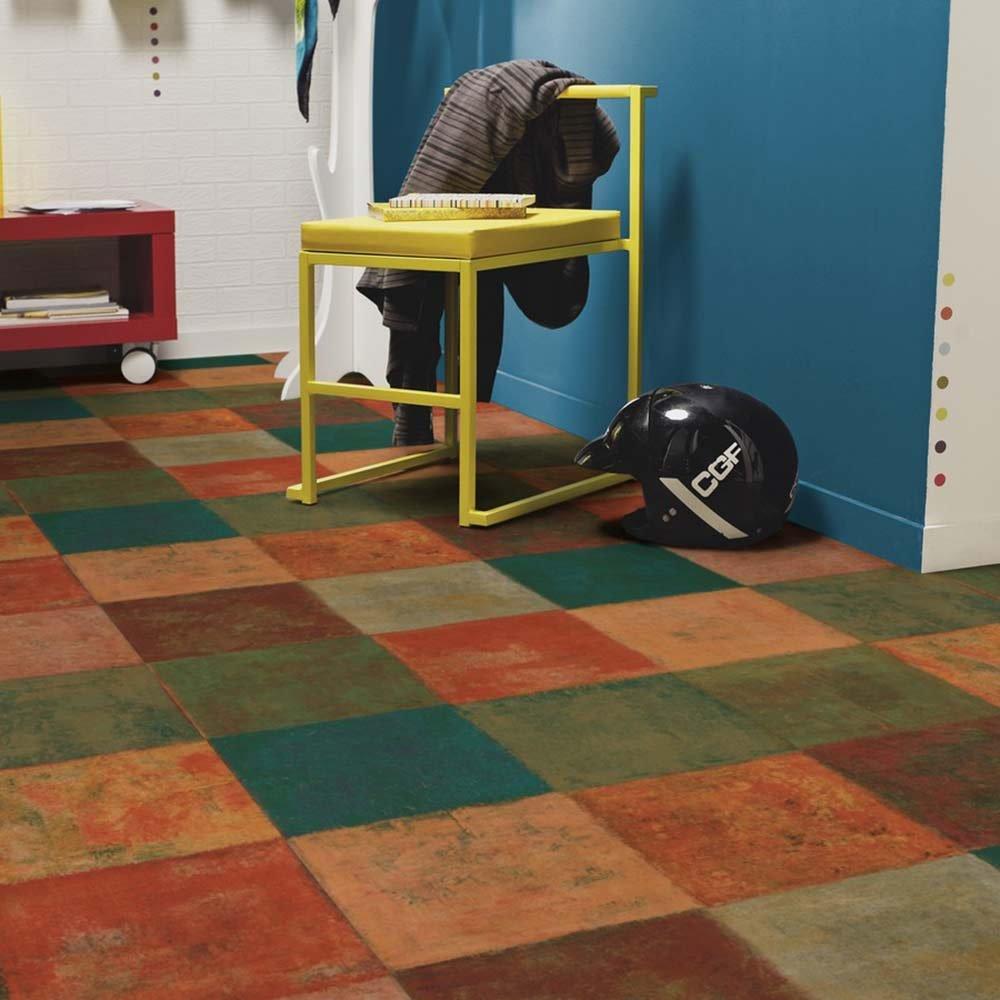 L/änge variabel Meterware Gr/ö/ße:2.50x2.00 m livingfloor/® PVC Bodenbelag Mediterranes Fliesendekor Terracottafliesen Mehrfarbig 2m Breite