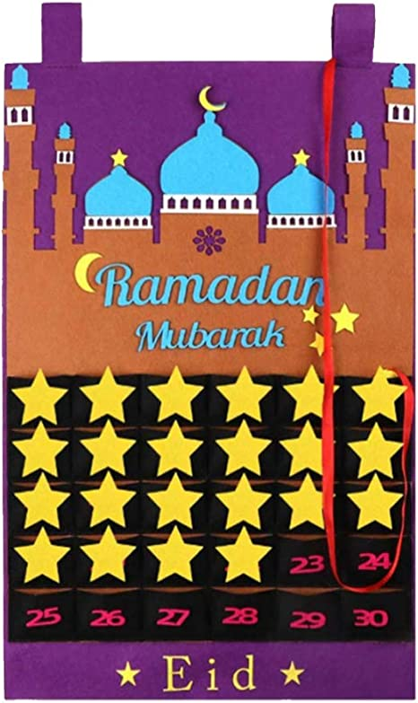Ramadan Calendar Eid Mubarak Hanging Countdown Calendar Hanging Felt Advent Calendar 30 Days Countdown Calendar for Kids Gifts Ramadan Party Supplies Advent Calendar 2021 Ramadan Decorations