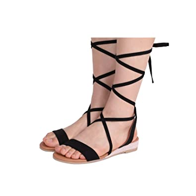 e9e7b42ba41 DREAM PAIRS Women s Formosa 3 Black Low Platform Wedges Mid Calf Tie Up  Sandals Size 5 B
