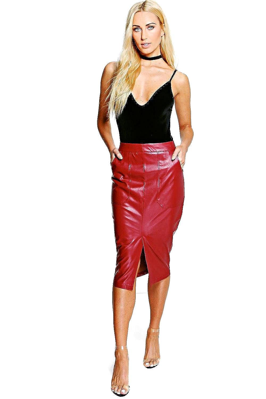 Berry Womens Ishani Pocket Front Leather Look Midi Skirt