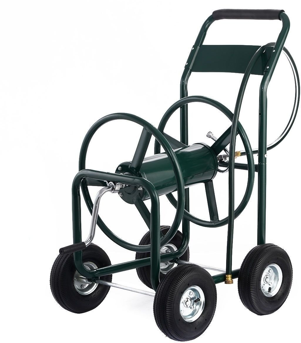Hose Reel Cart 4 Wheel For 300 Foot Hose Water Planting Green