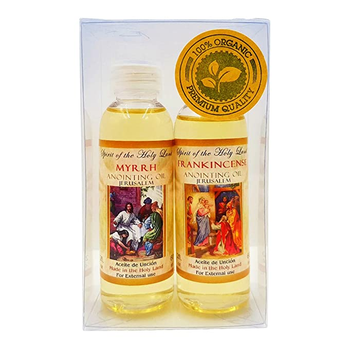 Set of 2 Anointing Oils From Israel Frankincense & Myrrh Aromatic Anointing  Oil 60 ml 2 fl oz Bottle