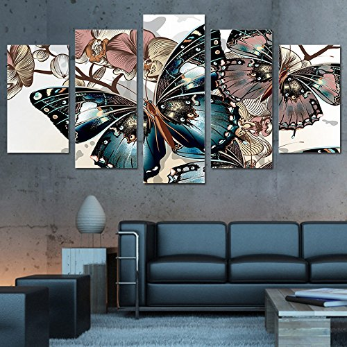 [LARGE] Premium Quality Canvas Printed Wall Art Poster 5 Pieces / 5 Pannel Wall Decor Butterflies Painting, Home Decor Pictures - With Wooden Frame (Canvas Butterfly Wall)