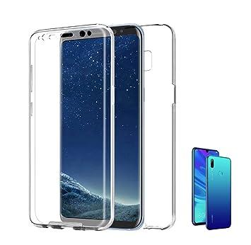 PLANETMOVIL Compatible con [ Huawei P Smart 2019 ] (6,2 Pulgadas) Funda 360 Carcasa Doble Cara 360 de Silicona Delantera + Trasera TPU rigido Doble ...